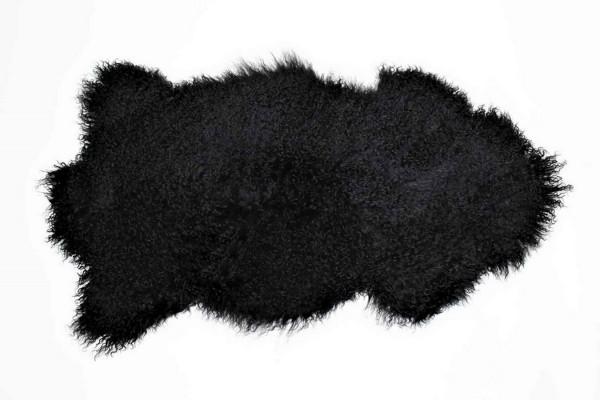 Tibetanisches Lammfell schwarz B 80 cm