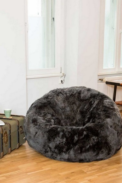 Sitzsack Schaffell langwollig grau D 83