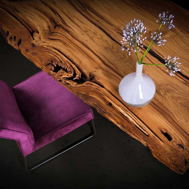 Altholz Eichen Baumkanten Tischplatte