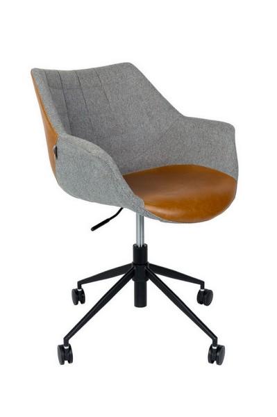Bürostuhl höhenverstellbar Vintage Stoff_Leder grau