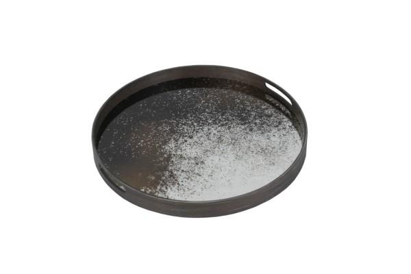 Notre Monde Tablett rund schwarz silber D 48 cm