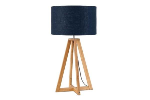 Tischlampe Everest Bambus natur blau H 59