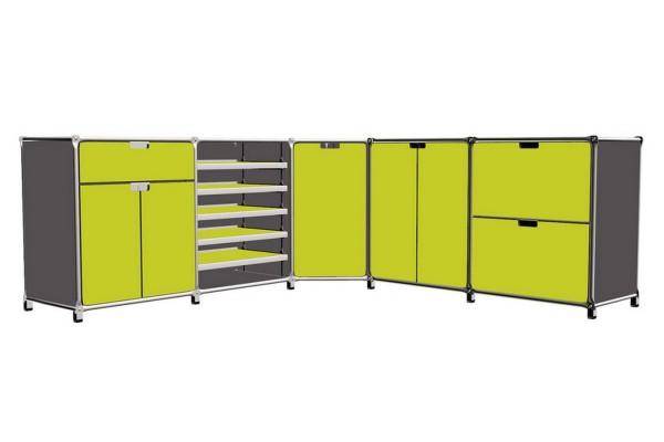 Sideboard System 180 matt gelbgrün 201_79_201cm