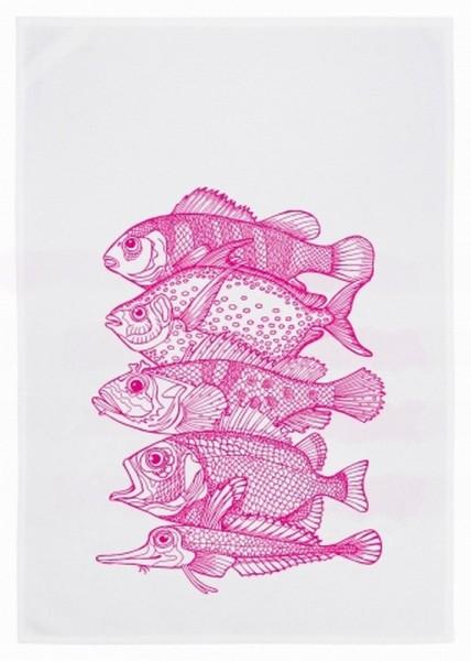 Geschirrtuch 5 Fische pink