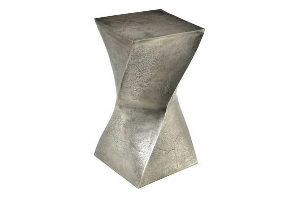 Hocker Metall gedreht silber H 47 cm