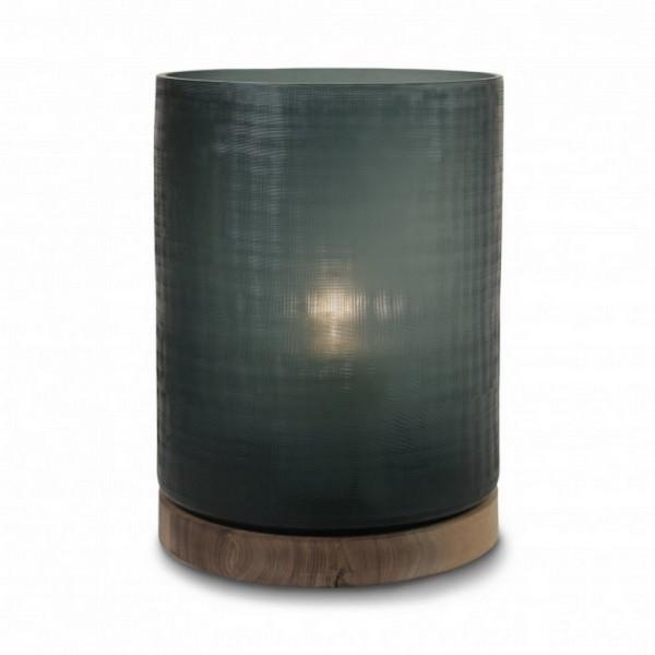 Windlicht Aran auf Holzfuß smoke XL