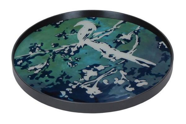 Notre Monde Tablett Birds of Paradise türkis blau D 61 cm