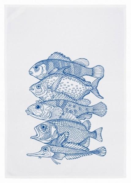 Geschirrtuch 5 Fische blau