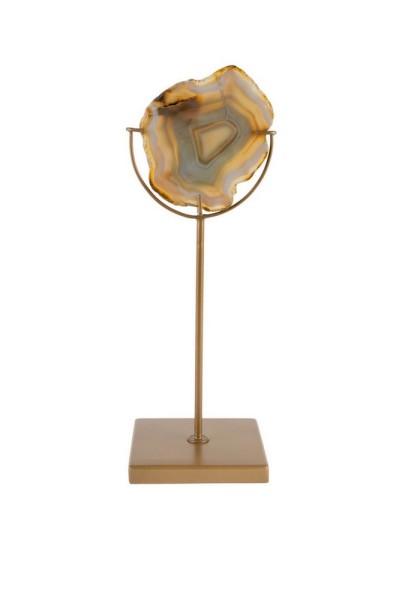 Teelichthalter auf Fuss mit Achatscheibe gelb_gold h 30cm