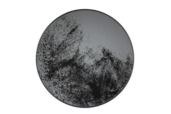 Notre Monde Tablett rund schwarz silber D 61 cm