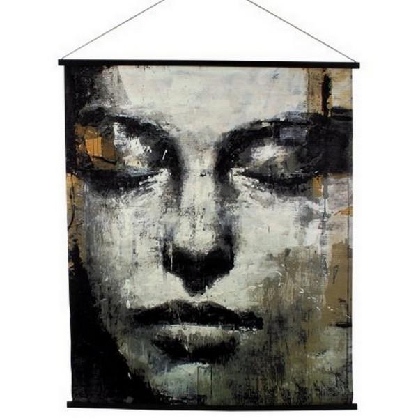 Wandbild Face schwarz gold H 145 cm