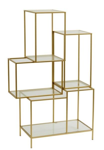 Regal Metall Glas gold h 126 cm