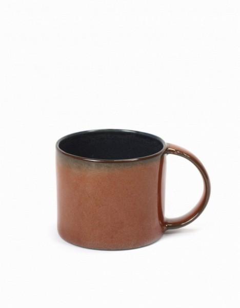 Kaffeetasse Steingut dunkelblau rostrot