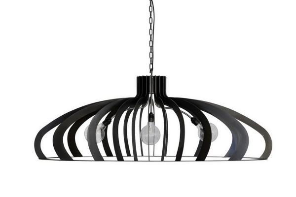 Deckenlampe oval Metall schwarz 140 cm