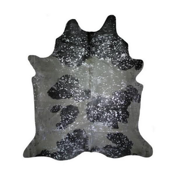 Kuhfell Metallic silber auf schwarz weiss ca 3-5 qm