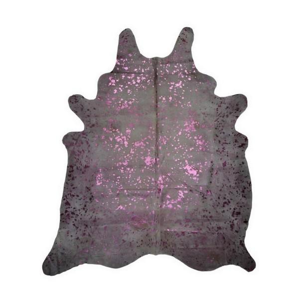 Kuhfell Metallic pink auf creme weiss ca 3-5 qm