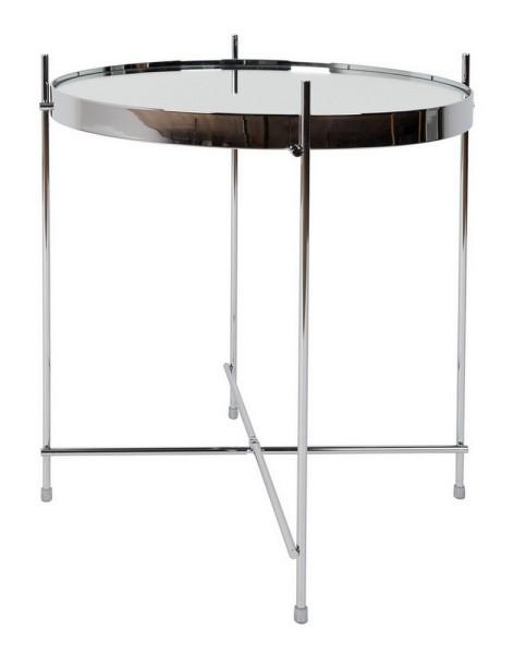 Beistelltisch rund Glas Metall silber