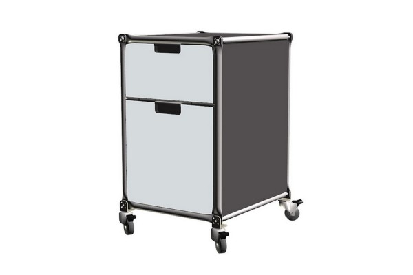 Rollcontainer System 180 weiss-graphit MDF 40,5_64,5_46 cm