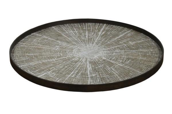 Tablett White Slice rund in braun grau D 92 cm