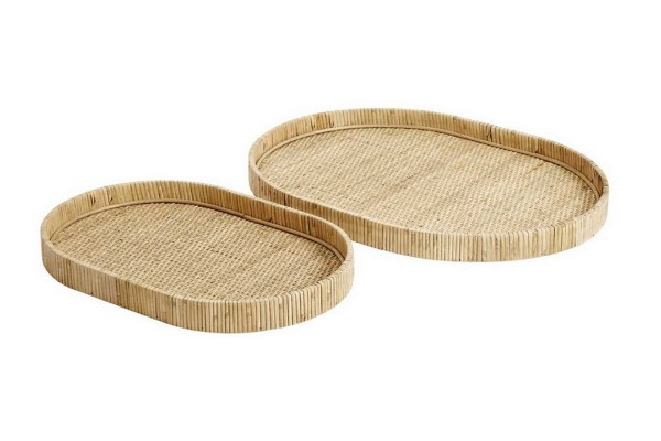 Tablett Set Rattan oval b 55 cm