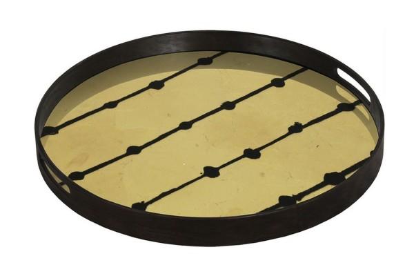 Notre Monde Tablett Dots braun rund D 48 cm