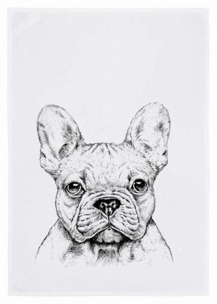Geschirrtuch Bulldogge grau
