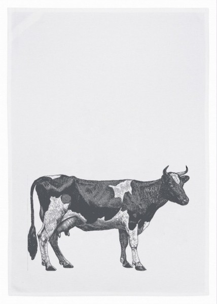 Geschirrtuch Kuh grau
