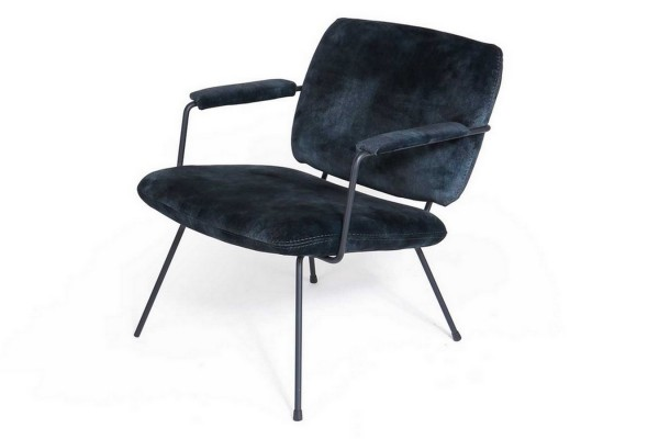 Loungesessel Bossa Nova Samt schwarz-blau