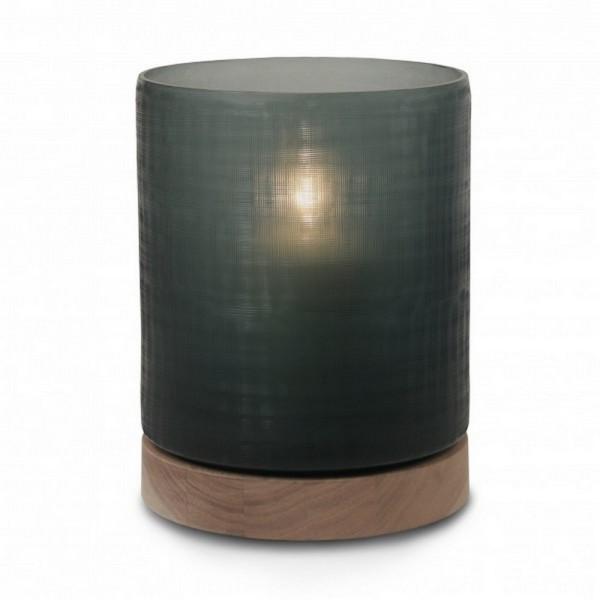 Windlicht Aran auf Holzfuß smoke L