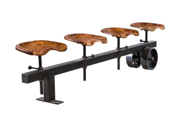 Sitzbank Stahl mit 4 Traktorsitzen kupfer b 230 cm