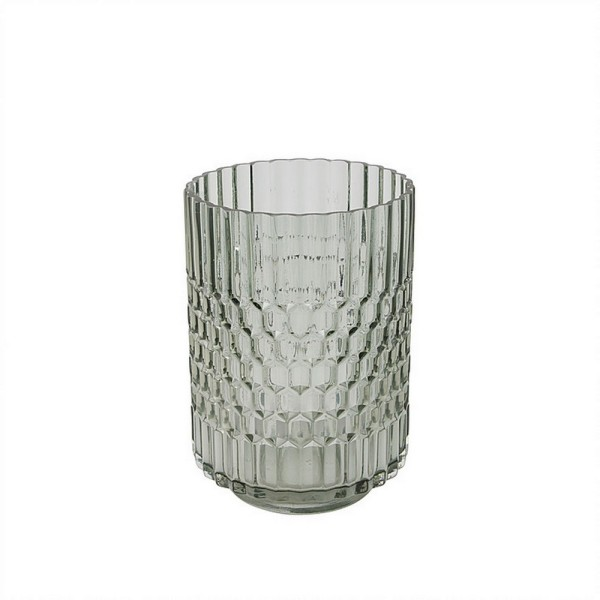 Glasvase grau mit Wabenmuster H 21 cm