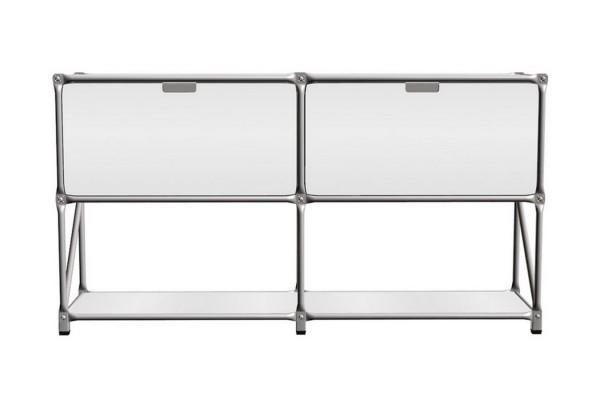 Sideboard System 180 matt MDF weiß 147_79_5_37 cm